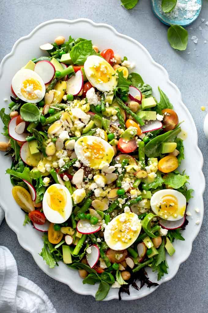 Asparagus Salad on a white platter