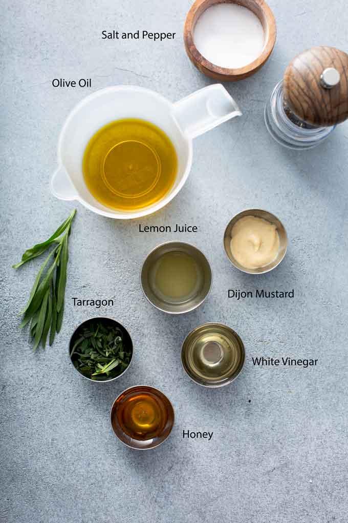 Ingredients to make lemon vinaigrette for spring salad recipe