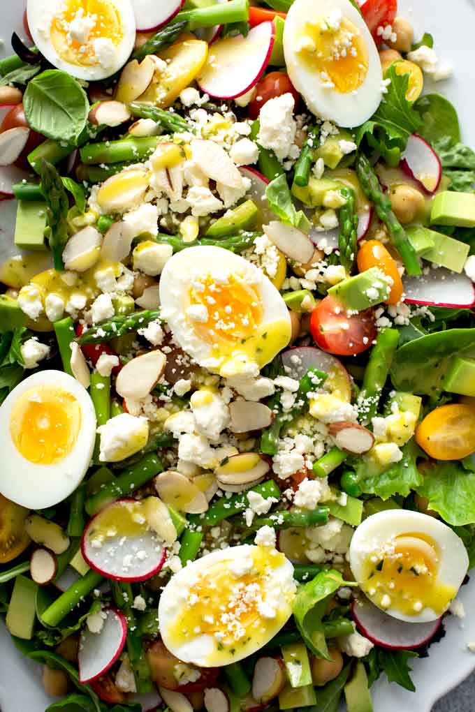 Close up of a photo of spring salad.