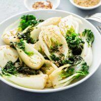 White bowl with stir fried bokchoy