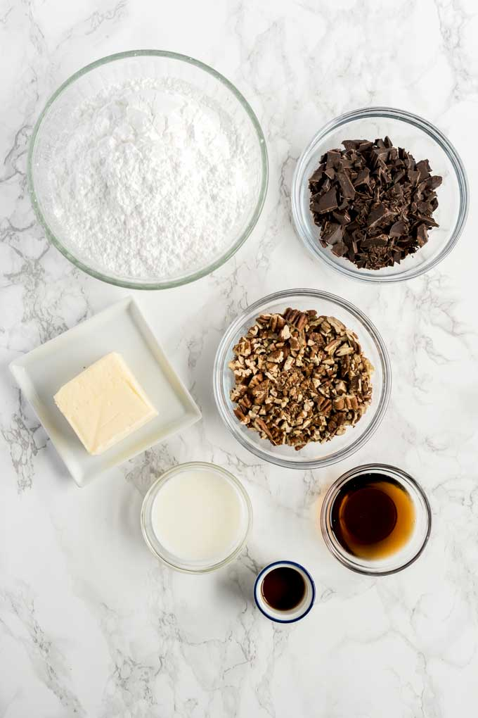 Ingredients for making chocolate coca cola frosting