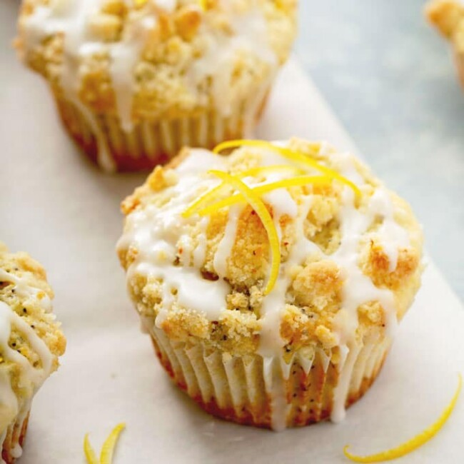 lemon poppy seed muffin on parchment paper
