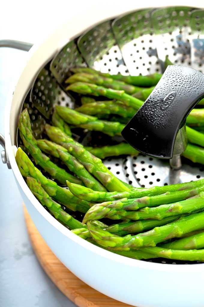 asparagus in a steamer.