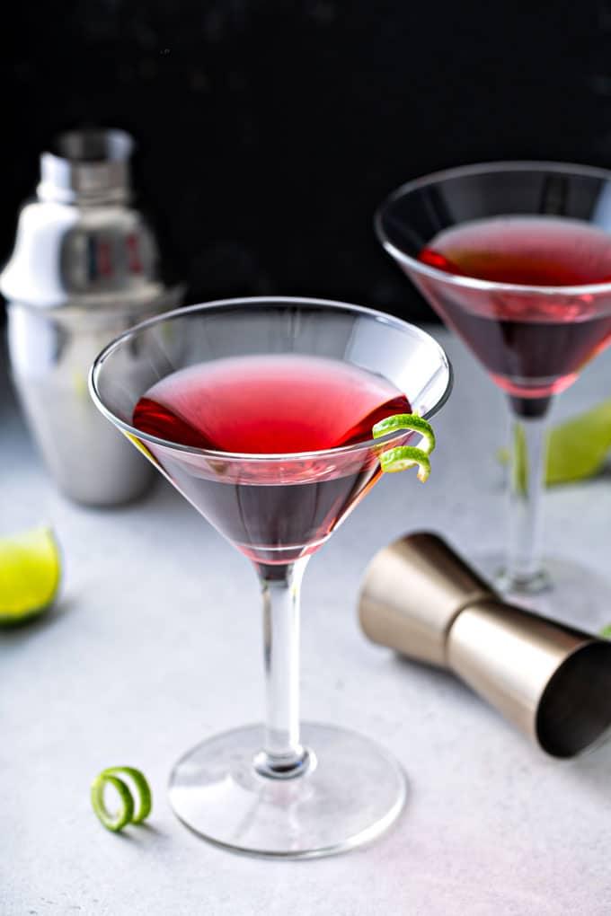 Cosmopolitan martini on a white surface