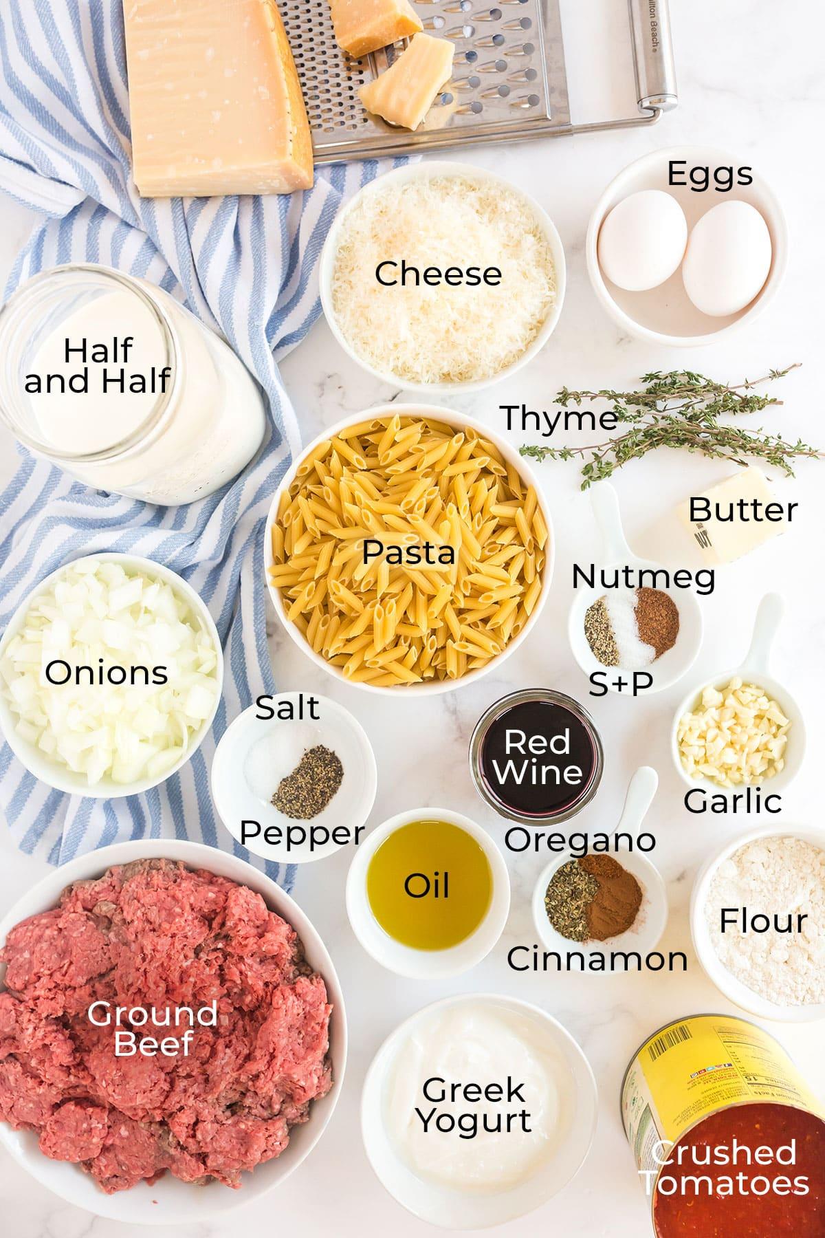 ingredients to make pastitsio pasta bake