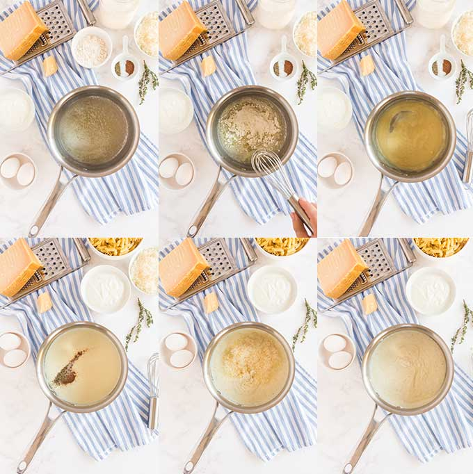 Step by step images on how to make béchamel sauce