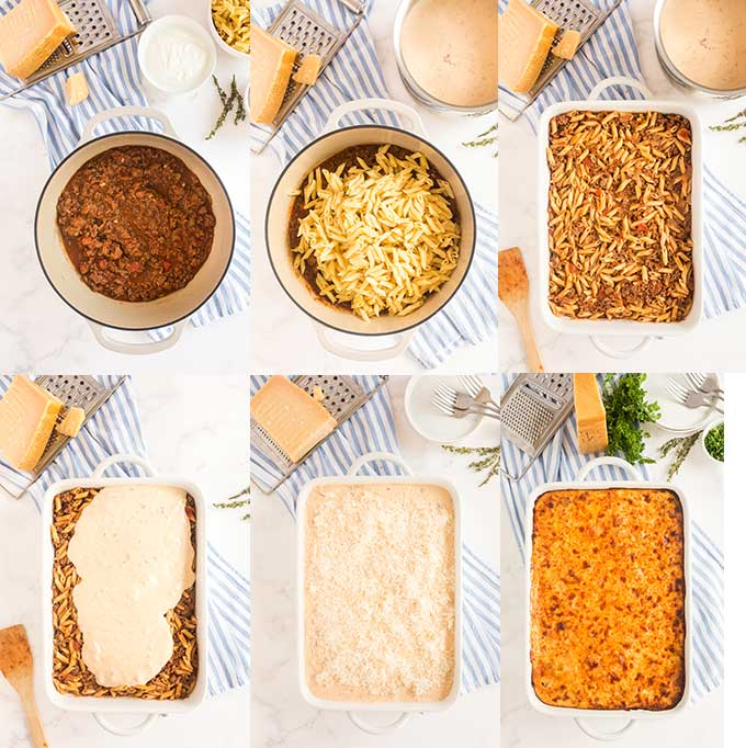 Step by step photos on how to assemble pastitsio