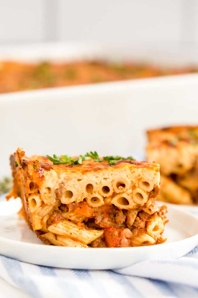 Side view of a piece of pastitsio