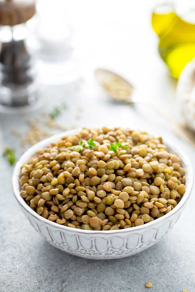 Cooked lentils in a bowl