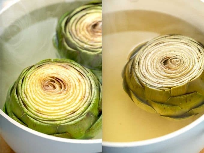 image collage on how to boil an artichoke