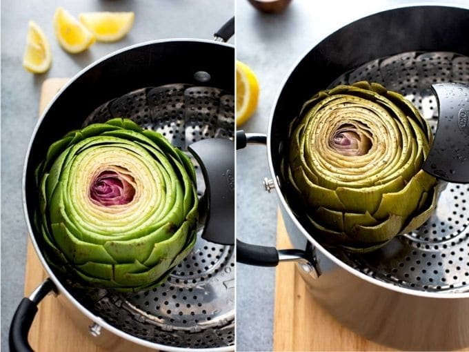 Image collage on how to steam artichokes