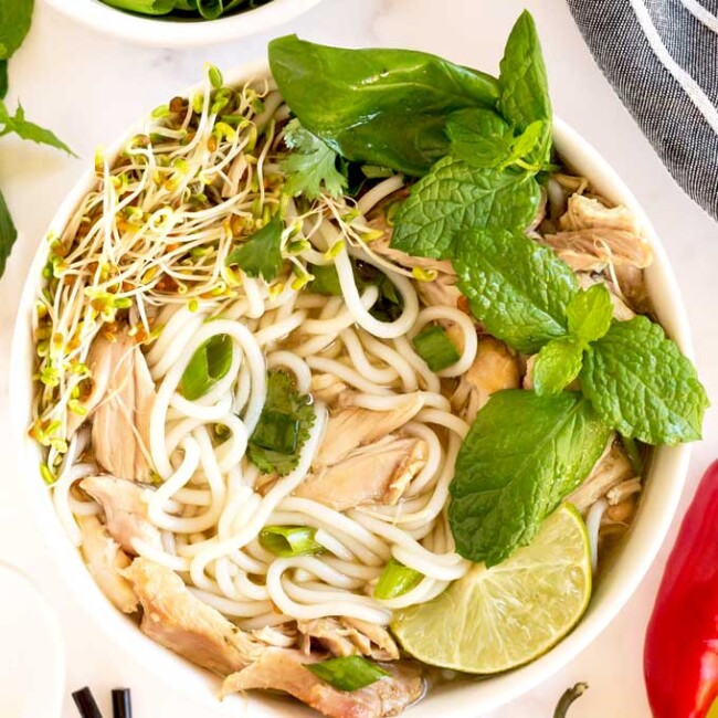 Chicken Pho in a white bowl