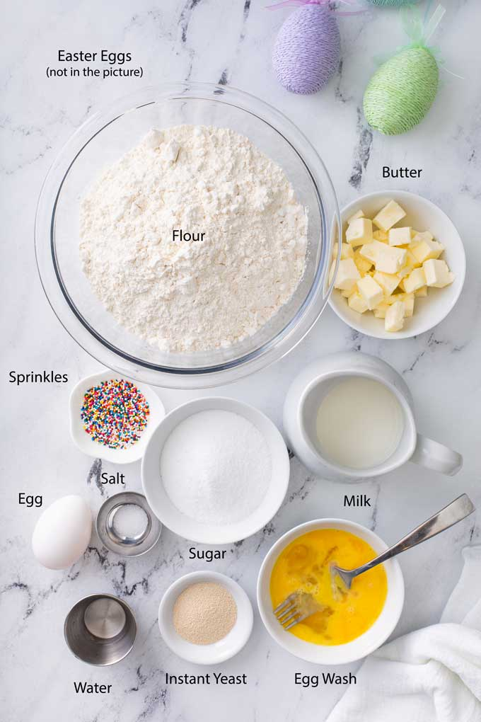 Ingredients to make sweet Italian bread for Easter