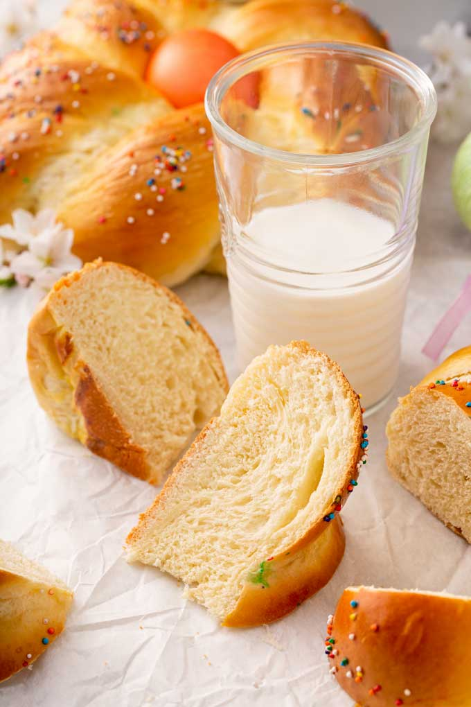 Pieces of Easter bread on a white surface.