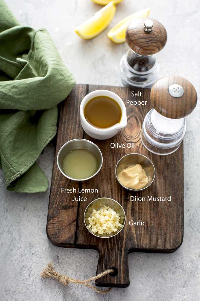 Ingredients to make lemon salad dressing