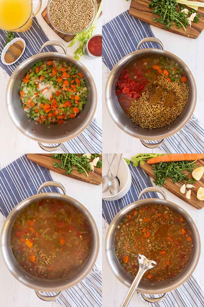 Step by step photo collage on how to make lentil soup