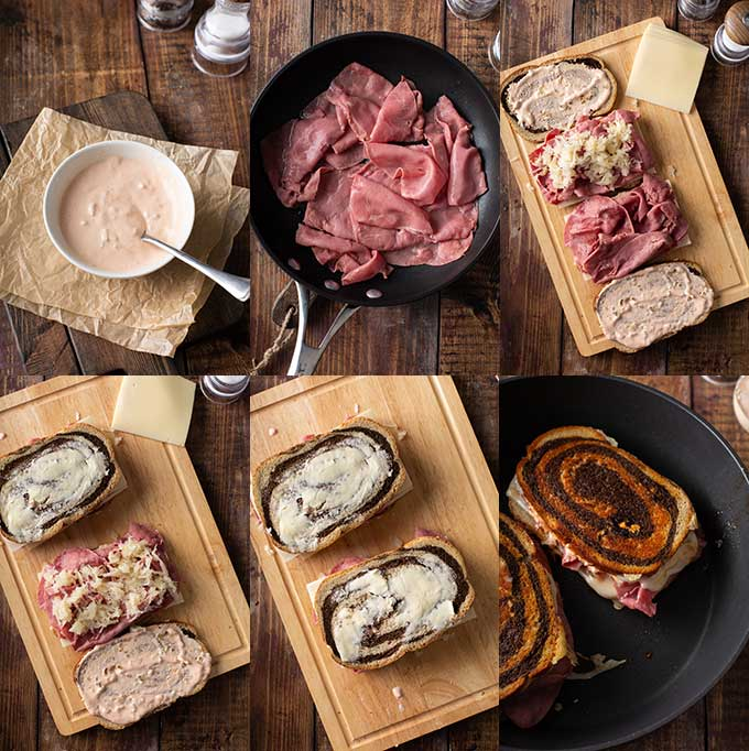 Step by step photos on how to make a Reuben sandwich