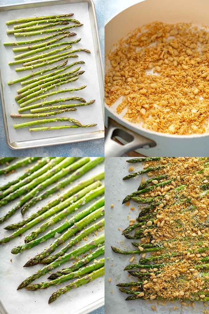 collage photos of how to make Parmesan roasted asparagus from scratch