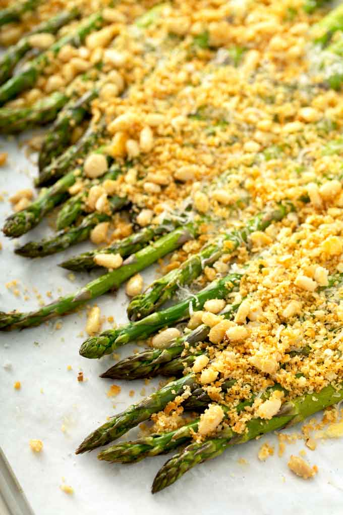 Golden baked asparagus with a savory Parmesan crumb topping