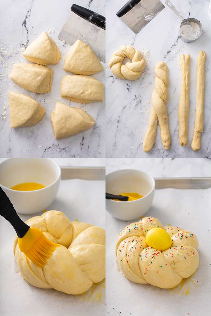photo collage on how to shape the bread wreath and decorate it.