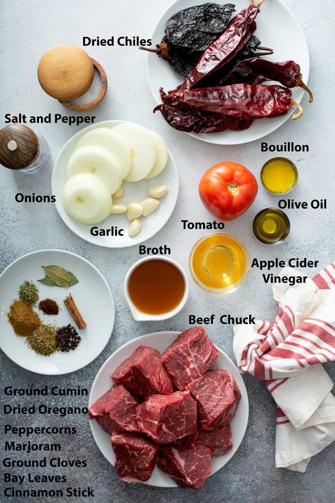 Ingredients to make traditional Beef Birria.