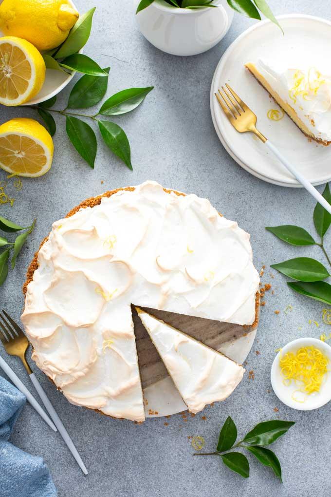 Top view of sliced lemon meringue pie