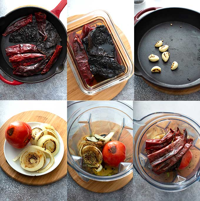 Step by step photos on how to make birria adobo or paste