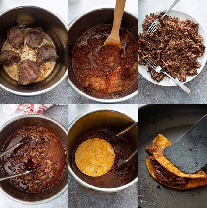 Step by step photos on how to make birria tacos