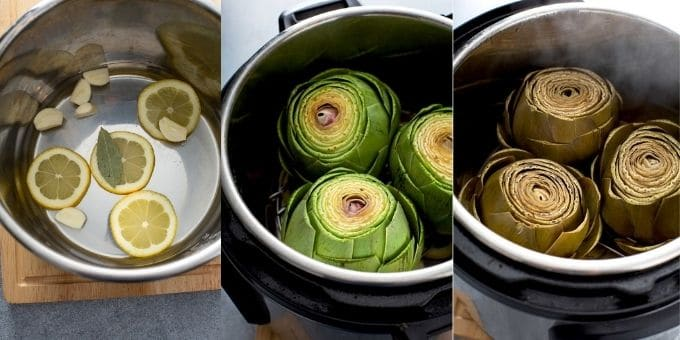 Image collage of how to cook artichokes in the instant pot.