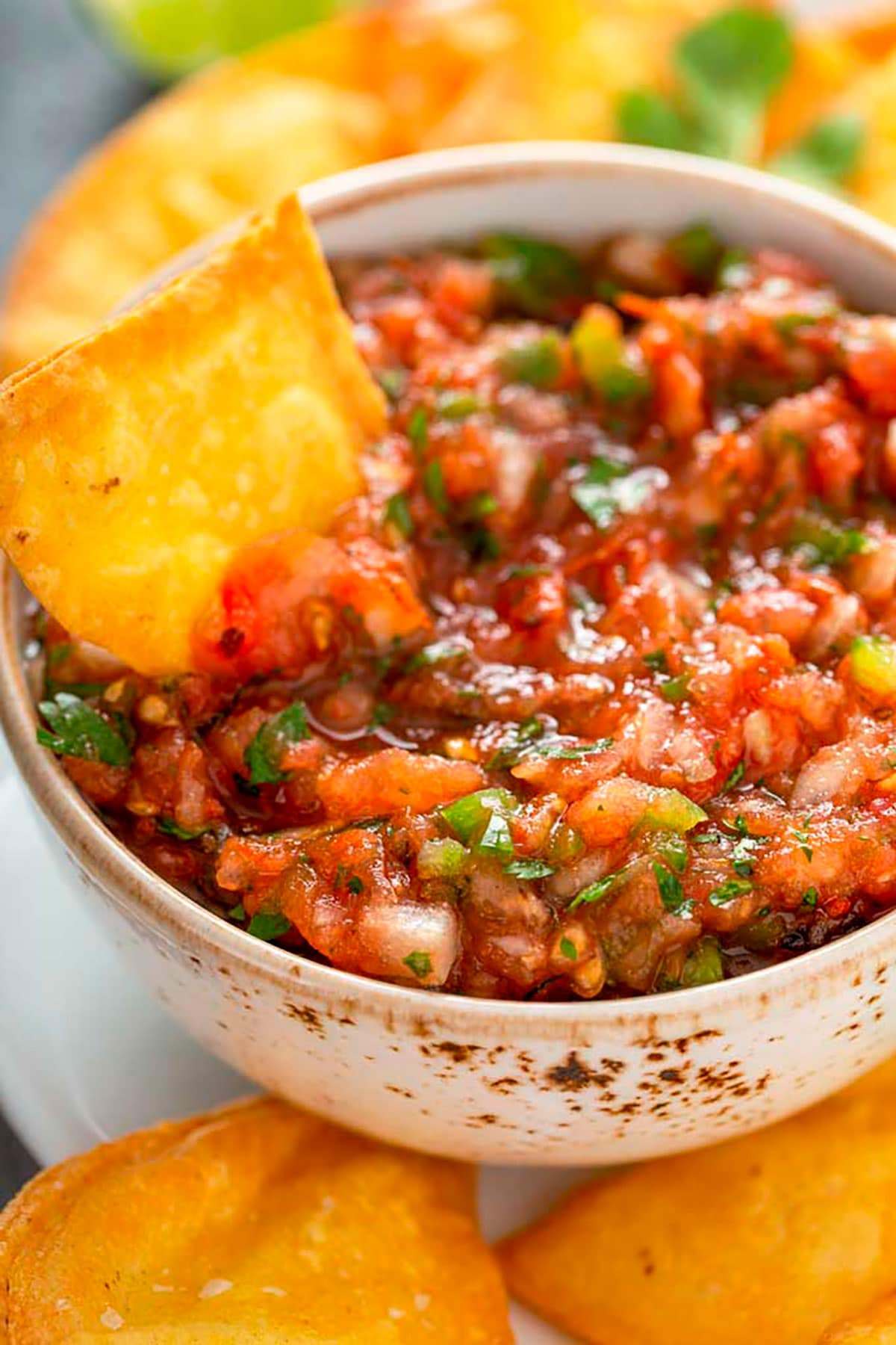 A bowl of homemade salsa with chips
