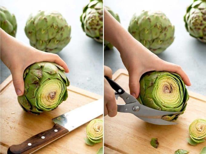Photo collage on how to prepare artichokes
