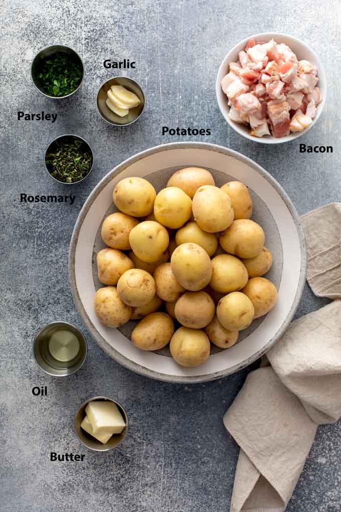 Ingredients to make herb skillets potatoes