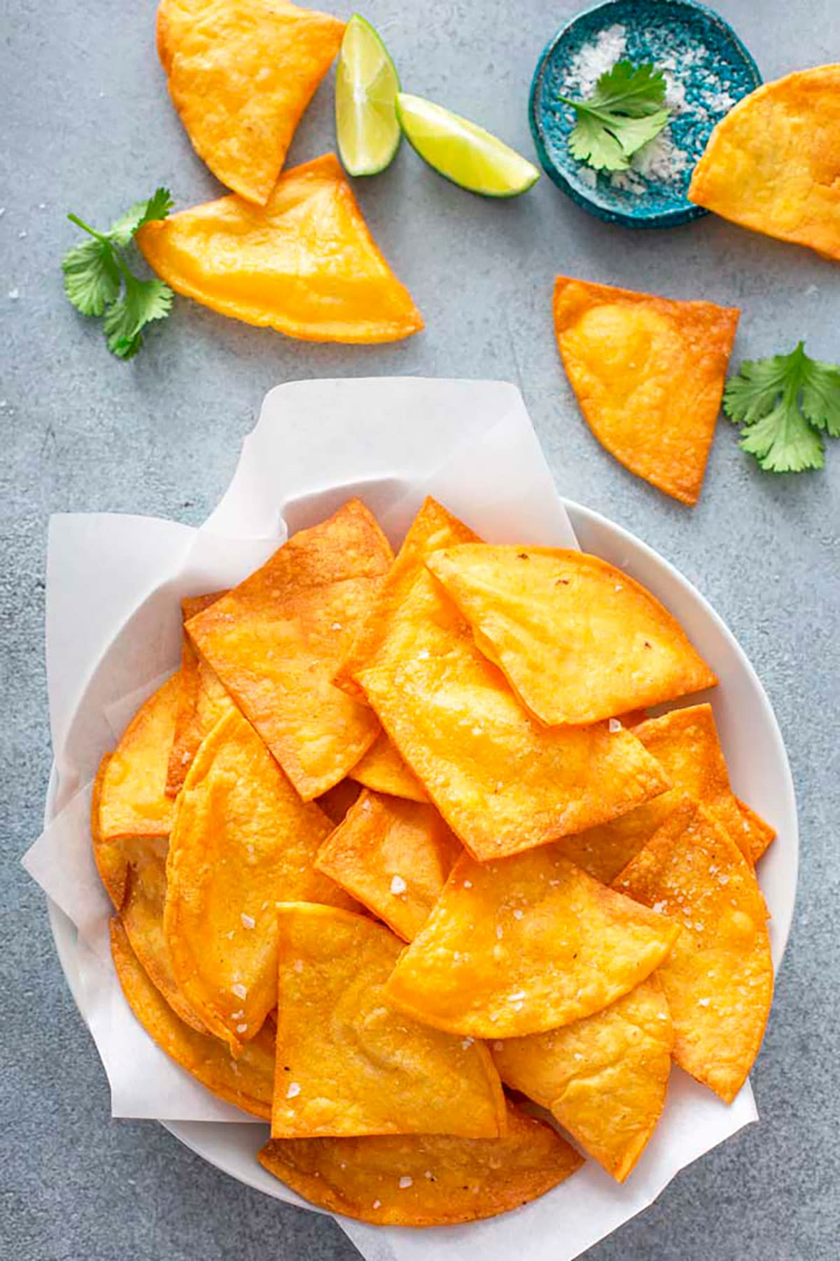 Bowl of tortilla chips sprinkled with flaky salt.