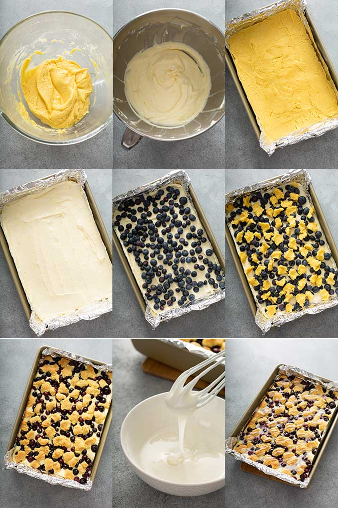 Step by step photos on how to make blueberry cheesecake bars