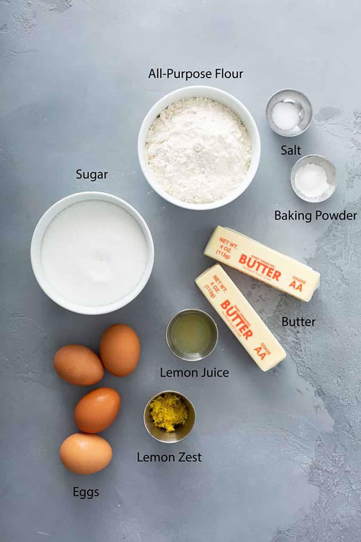 Ingredients to make Lemon brownie bars