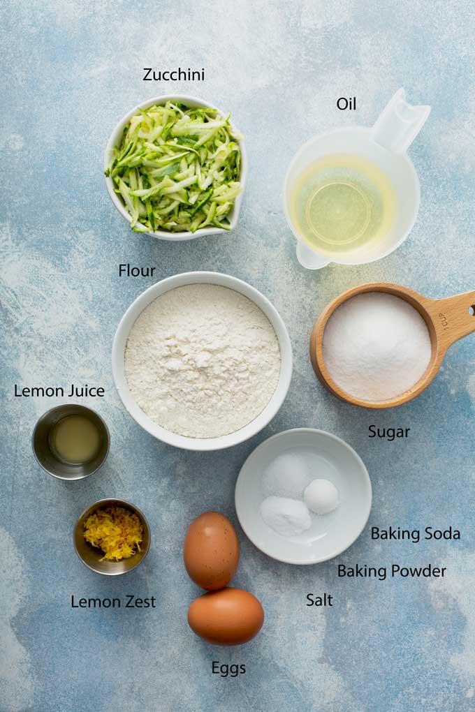 Ingredients to make lemon zucchini bread