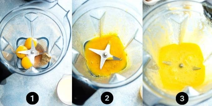 Step by step photos on how to make Hollandaise sauce in a blender.