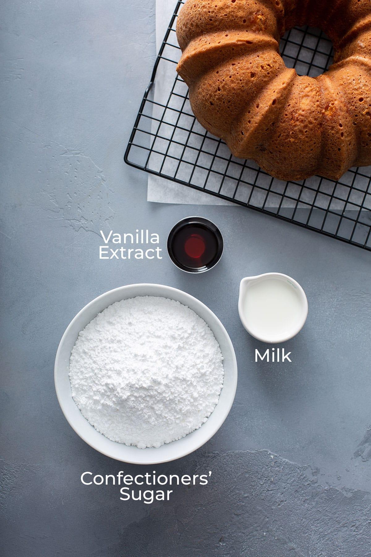 Ingredients to make Vanilla Glaze