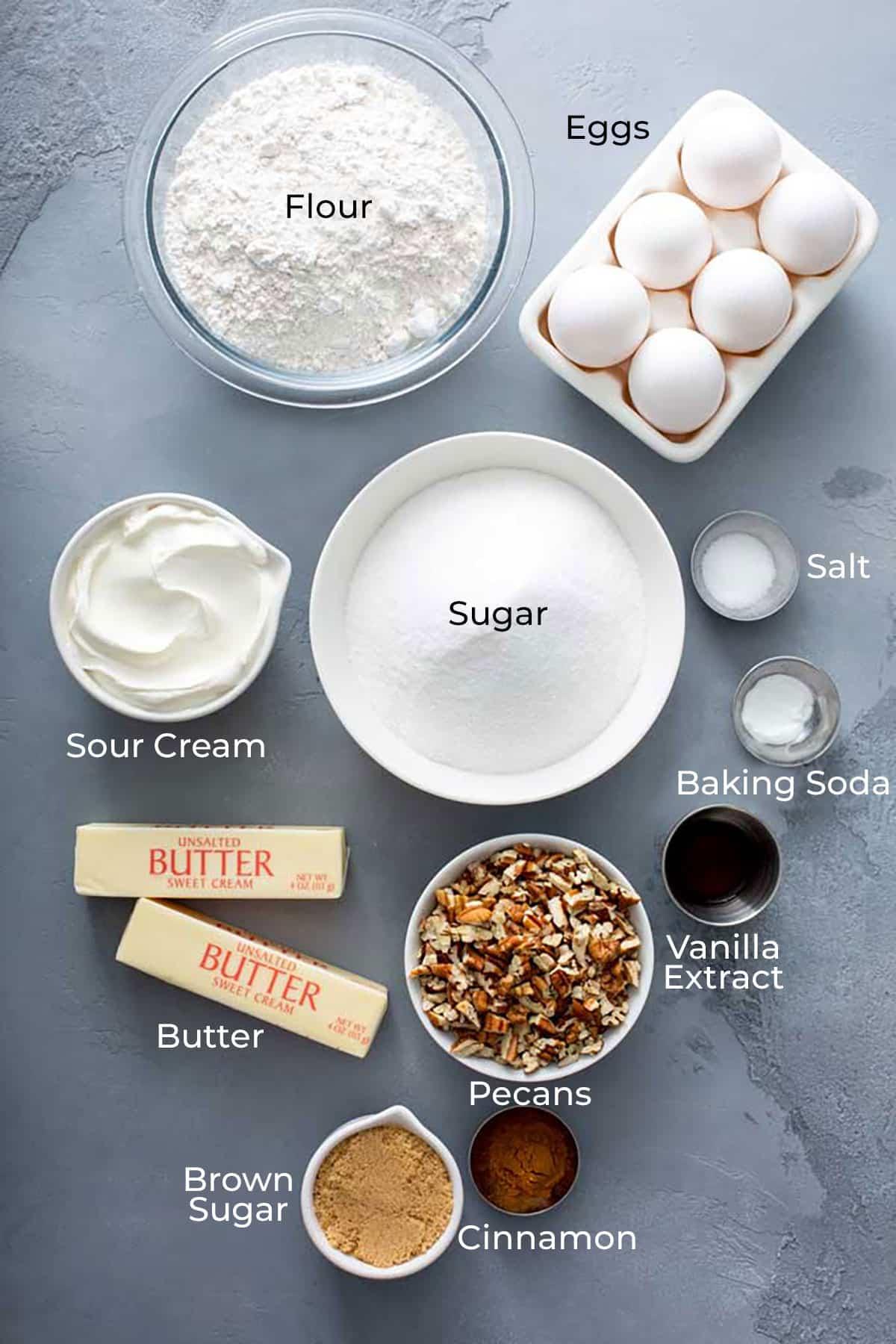 Ingredients to make Southern Retro Butter Bundt Cake