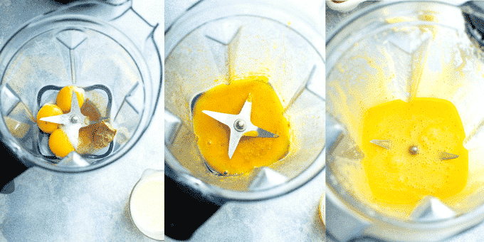 Collage of step by step images on how to make this Hollandaise sauce in a blender