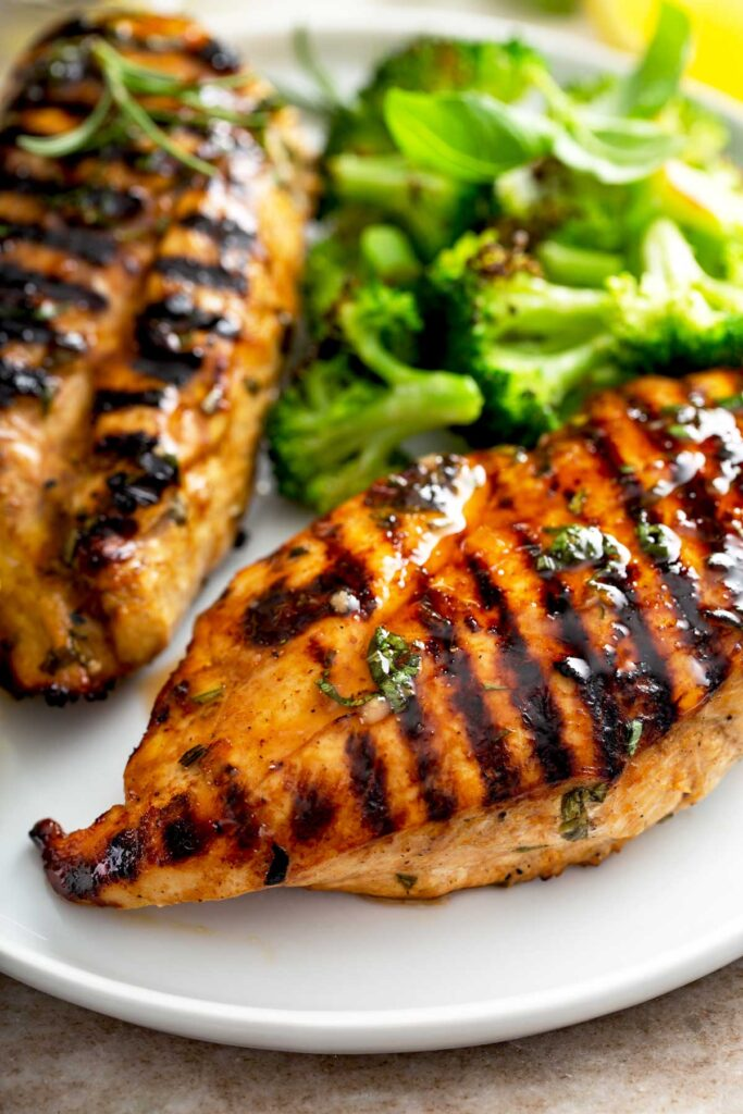 Grilled Chicken Breast - Lemon Blossoms: Close up of cooked chicken breast from the grill