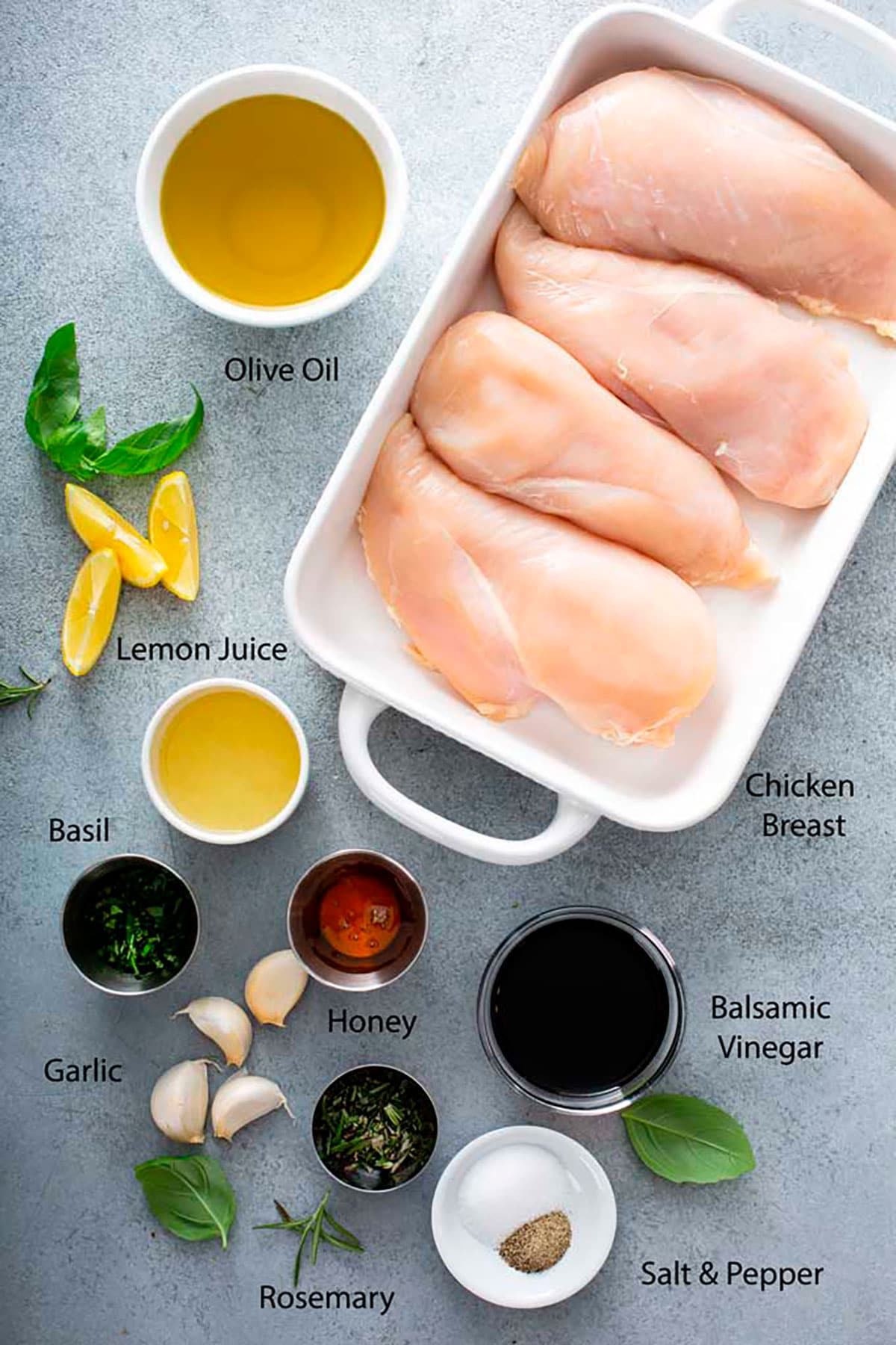 Grilled Chicken Breast - Lemon Blossoms: Ingredients to make grilled chicken with the best balsamic marinade