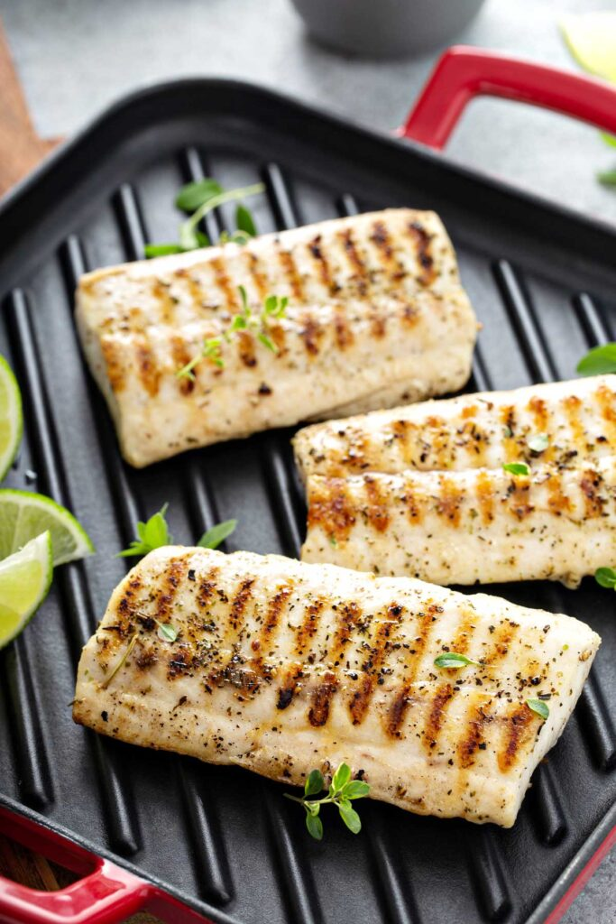 Fillets of grilled mahi on a grill pan