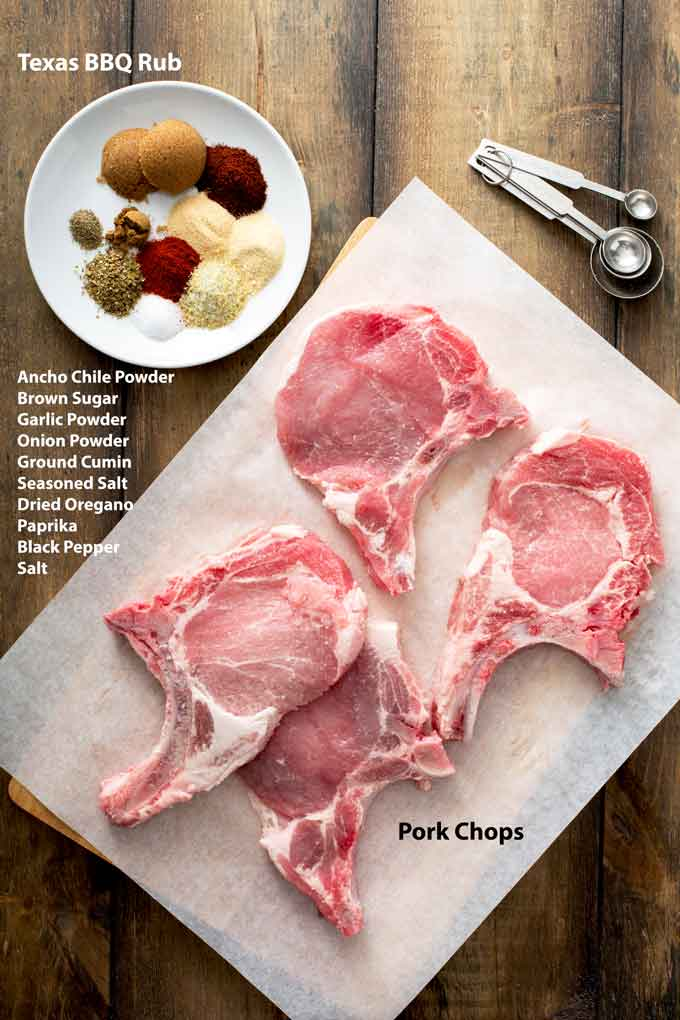 Ingredients to make grilled pork chops recipe and Texas BBQ spice rub