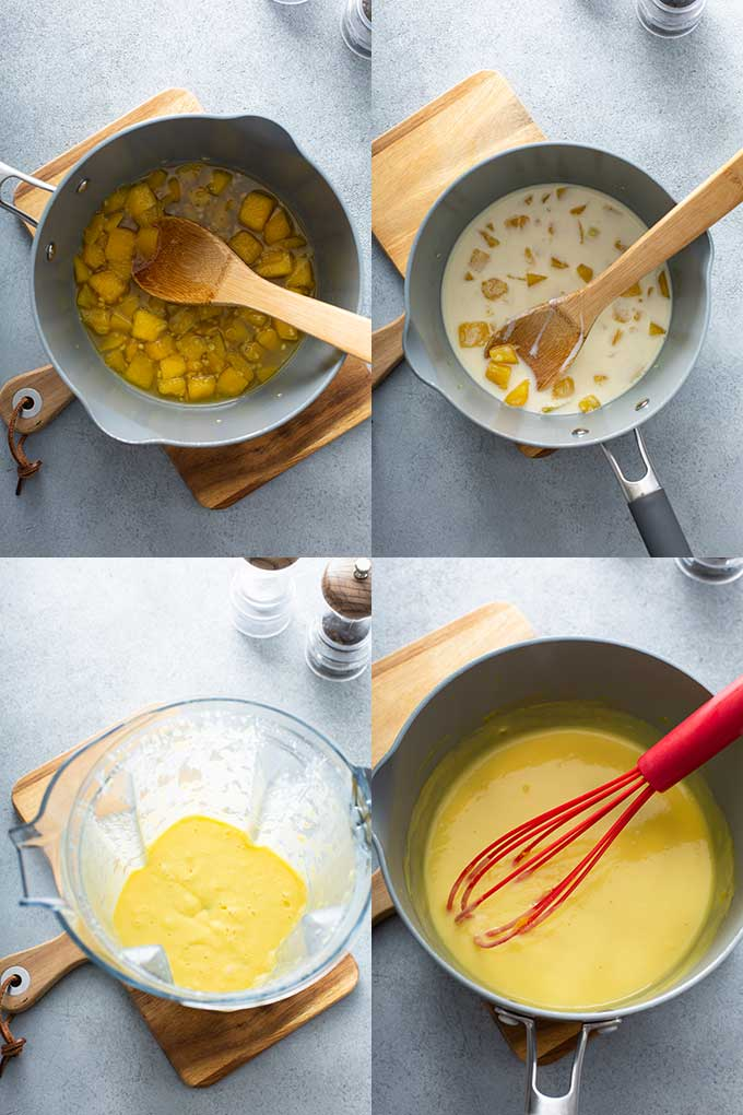Step by step photos on how to make mango-lime wine butter sauce or beurre blanc.