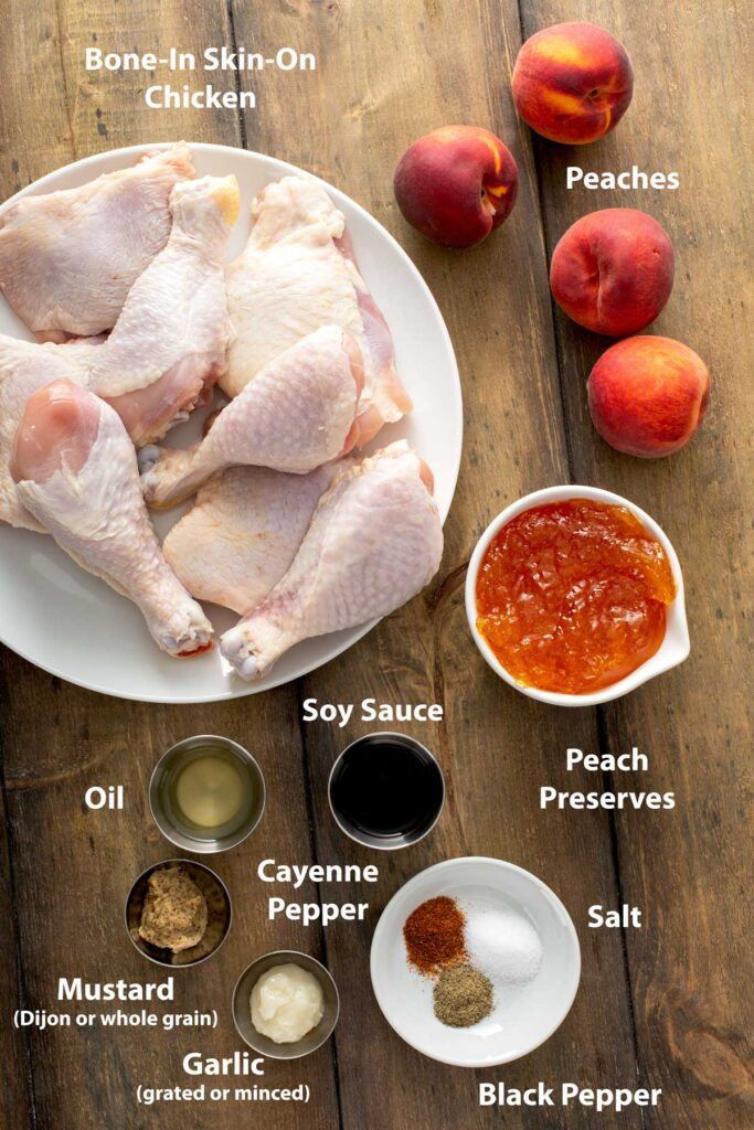 Ingredients to make chicken on the grill with peach glaze
