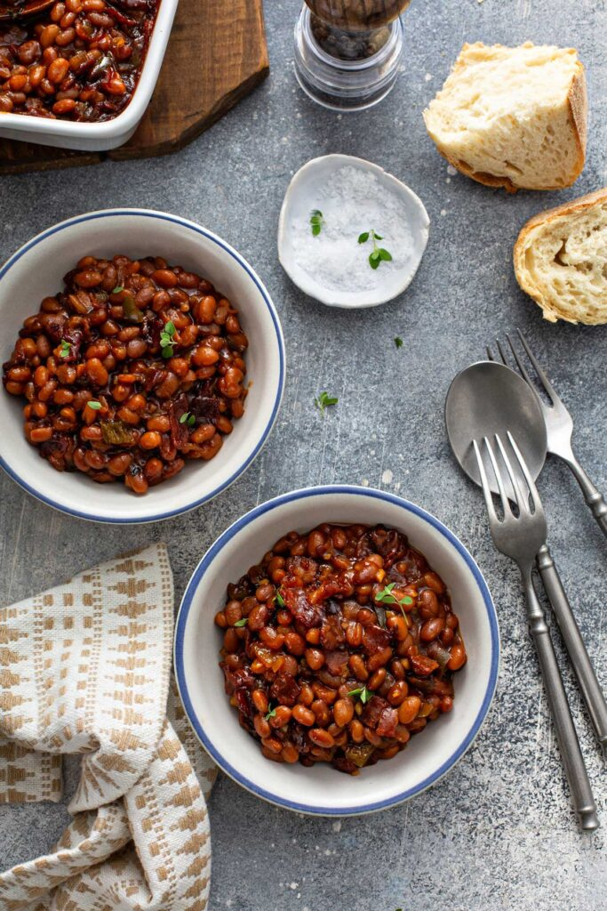 Bowls filled with the best baked beans.