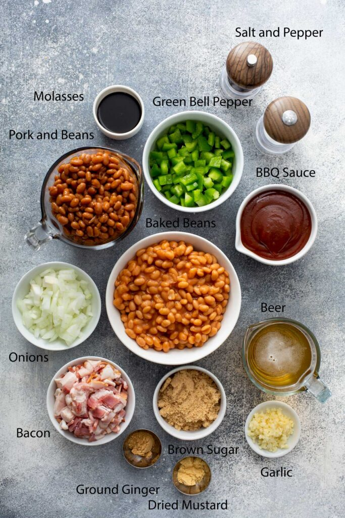 Ingredients to make BBQ Baked beans with bacon.