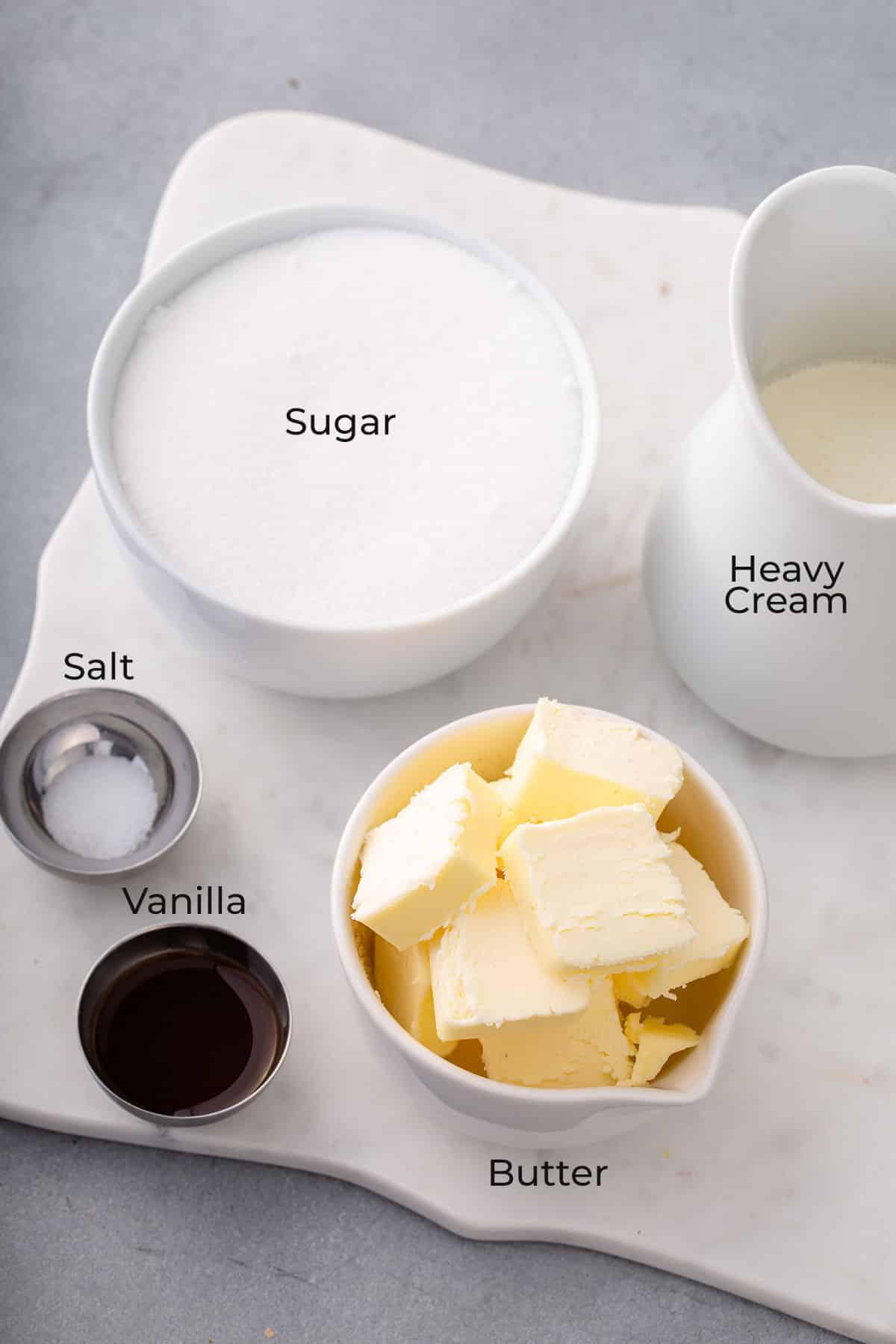 Ingredients to make caramel sauce