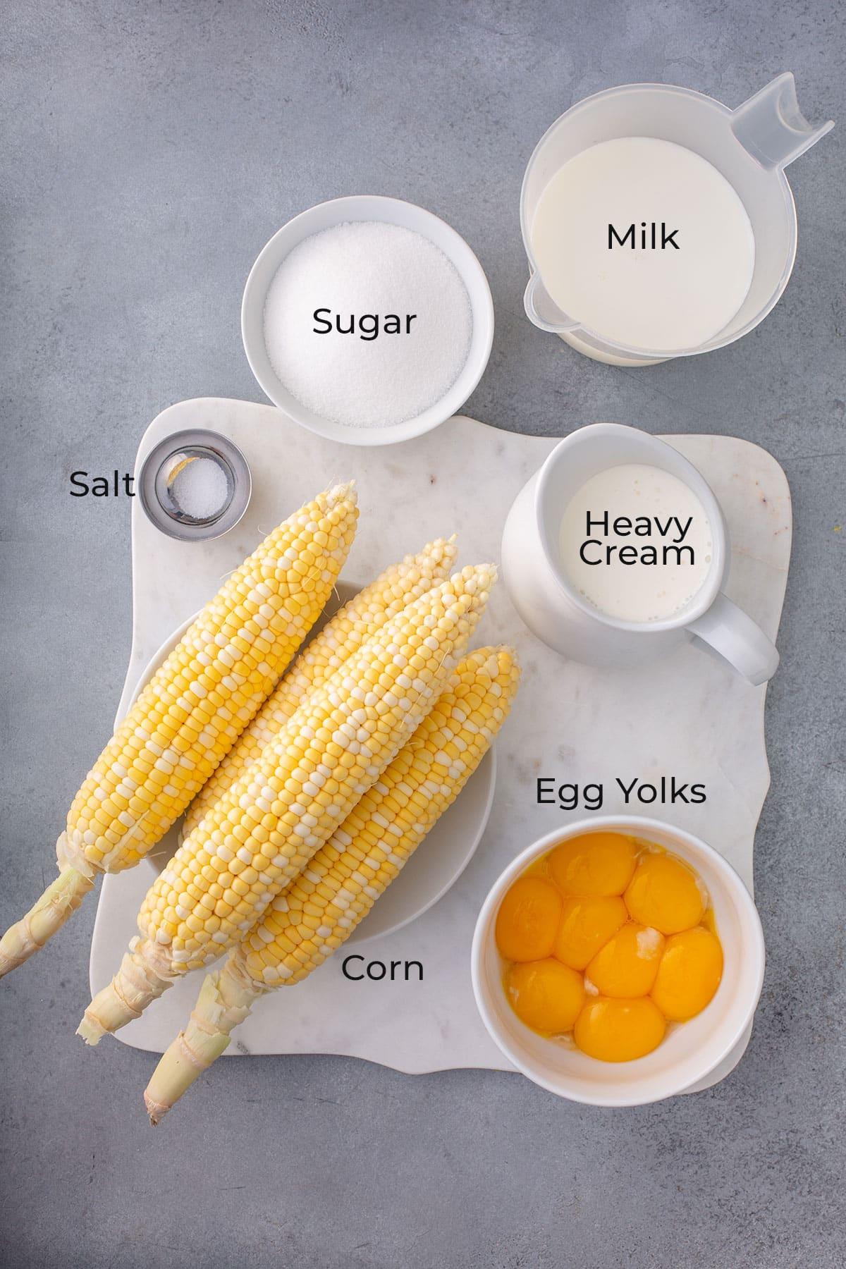 Ingredients to make sweet corn ice cream